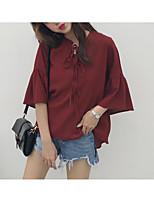 abordables -Mujer Vintage Borla - Algodón Camisa, Cuello Camisero Un Color / Geométrico Manga Farol Blanco y Negro