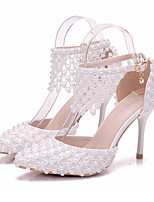 cheap -Women's Shoes PU(Polyurethane) Spring & Summer D'Orsay & Two-Piece Wedding Shoes Stiletto Heel Pointed Toe Pearl / Buckle White