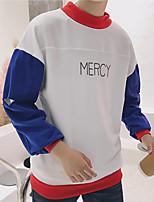 cheap -Men's Basic Sweatshirt - Solid Colored / Color Block / Letter