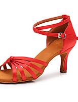 baratos -Mulheres Sapatos de Dança Latina Cetim Têni Salto Alto Magro Personalizável Sapatos de Dança Vermelho