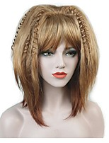 cheap -Synthetic Wig Matte Golden Bob Haircut Synthetic Hair Sexy Lady / 100% kanekalon hair Golden Wig Women's Mid Length Capless / Yes