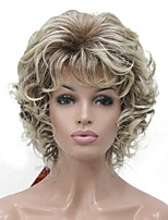 cheap -Synthetic Wig Curly Middle Part Synthetic Hair 100% kanekalon hair Blonde Wig Women's Short Machine Made