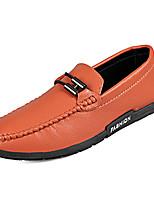 cheap -Men's Shoes PU(Polyurethane) Summer Moccasin Loafers & Slip-Ons White / Black / Orange