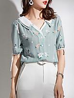 cheap -women's blouse - floral v neck