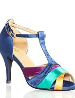 Недорогие -Жен. Обувь для латины Сатин На каблуках Планка Тонкий высокий каблук Персонализируемая Танцевальная обувь Цвет радуги