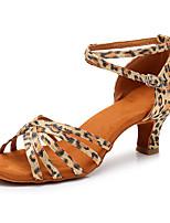 baratos -Mulheres Sapatos de Dança Latina Cetim Têni Salto Cubano Personalizável Sapatos de Dança Leopardo
