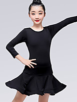 cheap -Latin Dance Dresses Girls' Training / Performance Milk Fiber Satin Bow / Ruching Long Sleeve Natural Dress