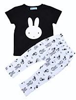 cheap -Toddler Boys' Black & White Print Short Sleeve Clothing Set