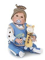 Недорогие -NPKCOLLECTION Куклы реборн Мальчики 24 дюймовый Полный силикон для тела / Силикон / Винил - Искусственная имплантация Коричневые глаза Детские Мальчики Подарок