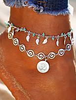 abordables -Effets superposés / 3D Bracelet de cheville - Forme de Feuille, Donuts Gland, Bohème, Mode Argent Pour Vacances / Bikini / Femme