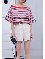 abordables -Mujer Algodón Camiseta A Rayas