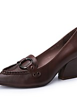 abordables -Mujer Zapatos Cuero de Napa Verano Confort Tacones Tacón Cuadrado Dedo Puntiagudo Café