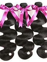 Недорогие -3 Связки Бразильские волосы Волнистый Натуральные волосы Человека ткет Волосы / Удлинитель 8-28 дюймовый Ткет человеческих волос Машинное плетение Классический / Лучшее качество / Новое поступление