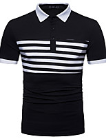 cheap -Men's Basic Polo - Striped Black & White, Print