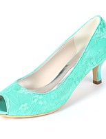 cheap -Women's Shoes Satin Spring & Summer Basic Pump Wedding Shoes Kitten Heel Peep Toe Green / Blue / Ivory / Party & Evening
