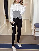 cheap -Women's Going out / Work Petal Sleeves Shirt - Solid Colored Shirt Collar / Summer