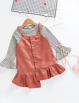 cheap -Kids Girls' Solid Colored / Striped 3/4 Length Sleeve Clothing Set