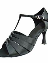 economico -Per donna Scarpe per balli latini Raso Tacchi Tacco alto sottile Scarpe da ballo Nero