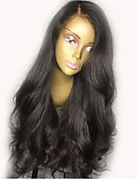 cheap -Remy Human Hair Lace Front Wig Wig Brazilian Hair Wavy Layered Haircut 130% Density With Baby Hair / Natural Hairline / Middle Part Black Women's Short / Long / Mid Length Human Hair Lace Wig