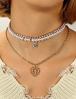 economico -Per donna Collane Layered - Perle finte Croce Dolce, Di tendenza Oro 28+6 cm Collana 1pc Per Quotidiano