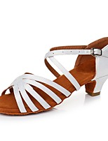cheap -Women's Latin Shoes Satin Heel Thick Heel Customizable Dance Shoes White / Black / Leopard