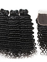 cheap -Malaysian Hair Curly Natural Color Hair Weaves / Human Hair Extensions / Hair Weft with Closure 3 Bundles With  Closure 8-22 inch Human Hair Weaves 4x4 Closure Best Quality / Hot Sale / For Black