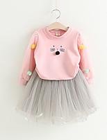 cheap -Kids Girls' Cat Print Long Sleeve Clothing Set