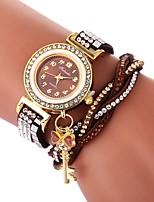 economico -Per donna Orologio braccialetto Cinese Orologio casual / Adorabile / imitazione diamante PU Banda Stile Boho / Di tendenza Nero / Bianco
