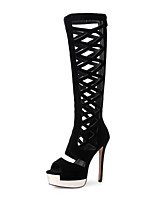 cheap -Women's Shoes Faux Leather Spring & Summer Fashion Boots Boots Stiletto Heel Open Toe Knee High Boots Sequin Black / Party & Evening