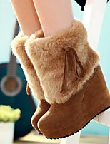cheap -Women's Shoes Suede Fall & Winter Snow Boots Boots Wedge Heel Round Toe Booties / Ankle Boots Tassel Black / Beige / Yellow