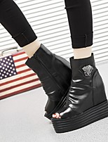 cheap -Women's Shoes Cowhide Fall Comfort Boots Creepers Peep Toe Booties / Ankle Boots Black