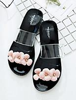 Недорогие -Жен. Обувь ПВХ Лето Удобная обувь Тапочки и Шлепанцы На плоской подошве Черный / Розовый