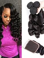 Недорогие -3 комплекта с закрытием Перуанские волосы Волнистый Натуральные волосы Человека ткет Волосы / Удлинитель / Волосы Уток с закрытием 8-22 дюймовый Ткет человеческих волос 4x4 Закрытие