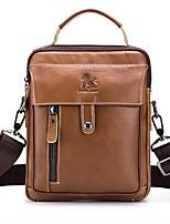 cheap -Men's Bags Cowhide Shoulder Bag Zipper Brown