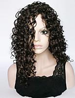 abordables -Pelucas sintéticas Rizado Corte asimétrico Pelo sintético Fiesta Negro Peluca Mujer Larga Sin Tapa