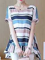 Недорогие -женская блузка - цветной блок / полосатая шея