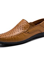 cheap -Men's Shoes Cowhide Summer Moccasin Loafers & Slip-Ons Dark Blue / Light Brown / Khaki