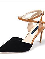 baratos -Mulheres Sapatos Couro Ecológico Verão Inovador Saltos Salto Agulha Dedo Apontado Presilha Preto / Bege / Festas & Noite
