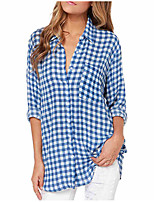 cheap -Women's Vintage Shirt - Solid Colored / Geometric Blue & White, Tassel