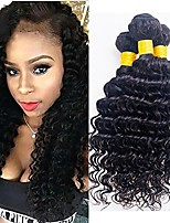 cheap -Mongolian Hair / Deep Wave Curly Natural Color Hair Weaves / One Pack Solution 3 Bundles 8-28 inch Human Hair Weaves Machine Made Best Quality / Hot Sale / 100% Virgin Natural Black Human Hair