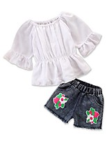 cheap -Baby Girls' Solid Colored Half Sleeve Clothing Set
