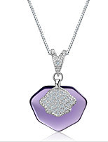 cheap -Women's Cubic Zirconia Pendant Necklace - S925 Sterling Silver Korean, Sweet Purple 50 cm Necklace 1pc For Wedding, Daily