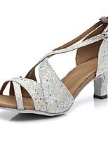 abordables -Femme Chaussures de Salsa Faux Cuir Sandale / Talon Boucle Mince haut talon Personnalisables Chaussures de danse Argent