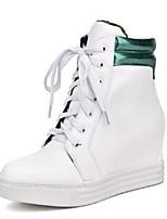Недорогие -Жен. Обувь Полиуретан Осень Модная обувь Кеды Туфли на танкетке Круглый носок Серебряный / Красный / Зеленый