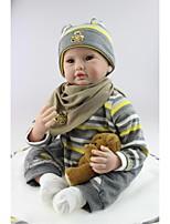 abordables -NPKCOLLECTION Poupées Reborn Bébés Garçon 24 pouce Silicone - réaliste, Implantation artificielle Yeux bruns Pour enfants Garçon Cadeau