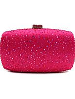 cheap -Women's Bags Satin Evening Bag Crystals Gold / Fuchsia