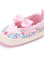 cheap -Girls' Shoes Canvas Spring / Fall Comfort / First Walkers / Crib Shoes Flats Bowknot / Flower / Gore for Baby White / Black / Pink / Wedding / Party & Evening