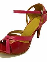 cheap -Women's Latin Shoes PU(Polyurethane) Heel Slim High Heel Dance Shoes Fuchsia / Performance / Leather / Practice