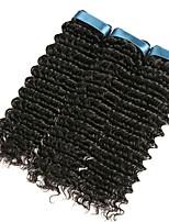billiga -3 paket Indiskt hår Lockigt Äkta hår Human Hår vävar / Förlängare 8-28 tum Naurlig färg Hårförlängning av äkta hår Maskingjord Bästa kvalitet / Ny ankomst / Till färgade kvinnor Människohår