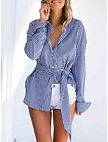 abordables -Mujer Camisa, Cuello Camisero A Rayas